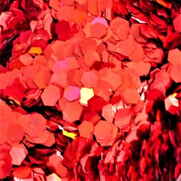 flaming red holographic 5mm hex