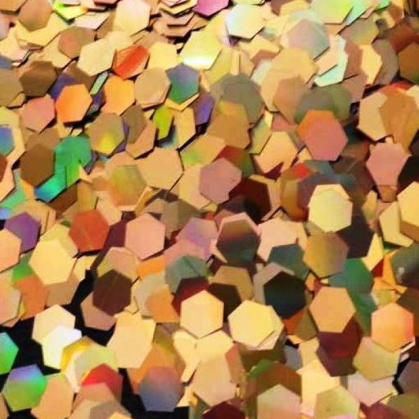 gold holographic 5mm large hex