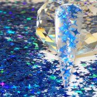 Blue holographic Xmas stars 4 angle