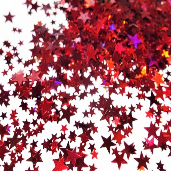 flaming red holographic stars