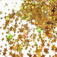 Gold holographic stars mixed pack