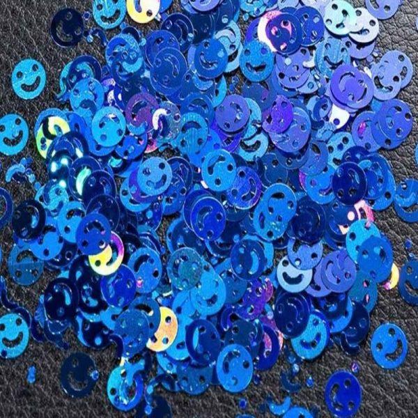 smiley face blue holographic emoji