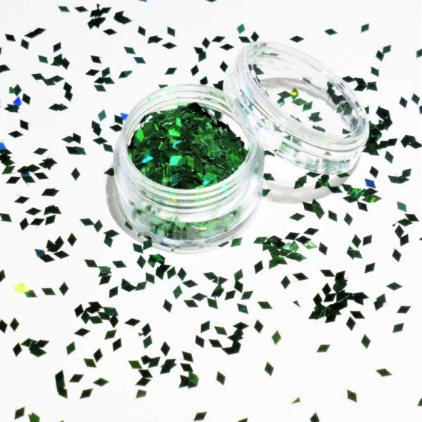 green holographic diamond shapes