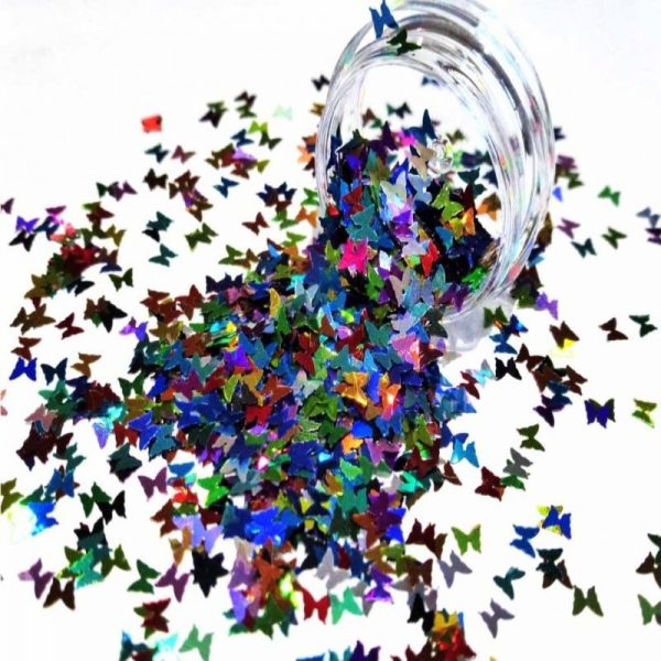 Multicoloured holographic Butterfly Shapes