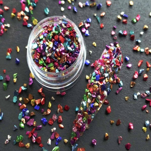 multicoloured crushed glass
