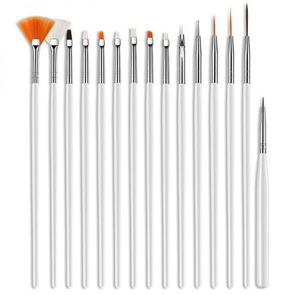 White Brush Set 15 pieces