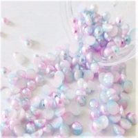 baby pink and baby blue half pearls