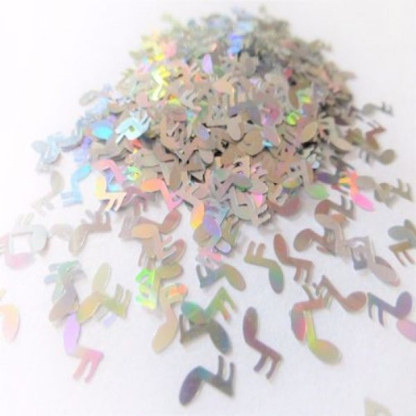 silver holographic music note shapes