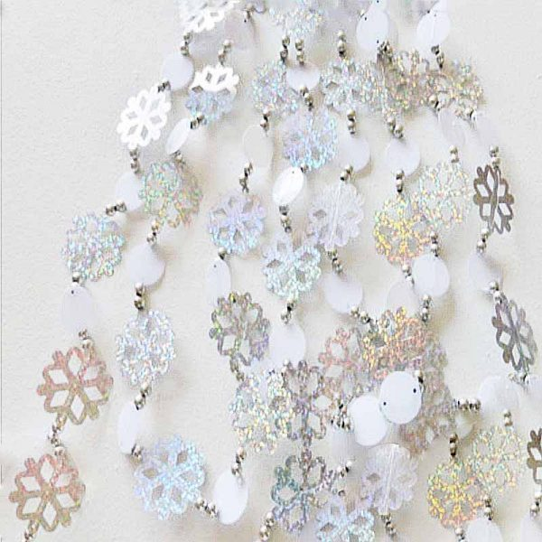 Silver Holographic White Snowflake Garland