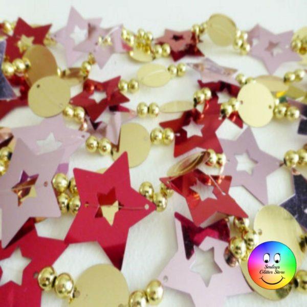 red pink gold star garland