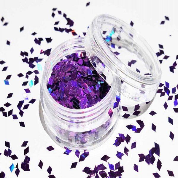 purple holographic diamond shapes