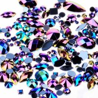 AB black acrylic jewel gems