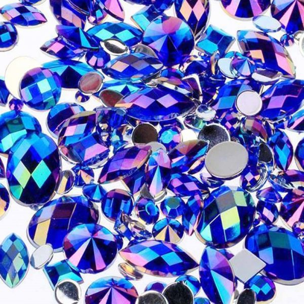 AB blue acrylic jewel gems