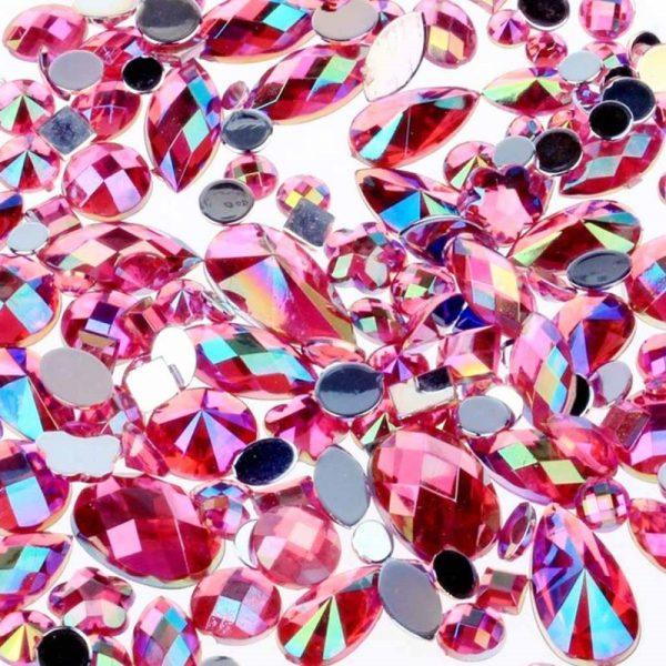 pink ab acrylic jewel gems