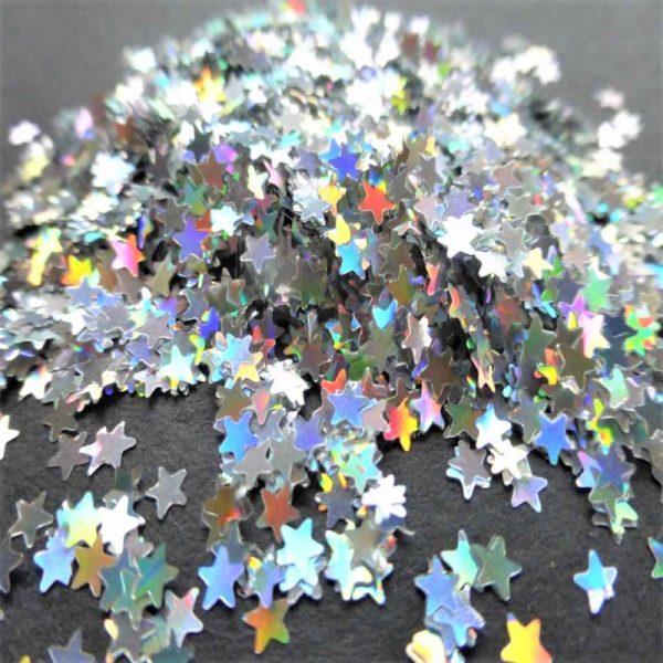 silver holographic 4mm stars