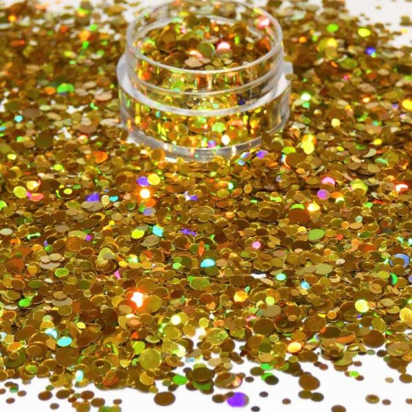 Gold Holographic Dot Mix 1mm 2mm 3mm