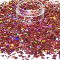 Pink Holographic Dot Mix 1mm 2mm 3mm