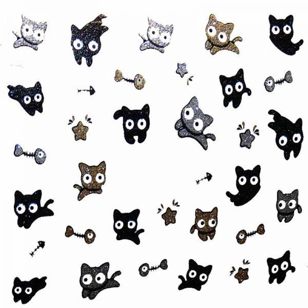 Design 4 Glitter Sticker Cat