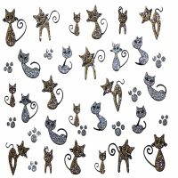 Design 6 Glitter Sticker cat and paw prints