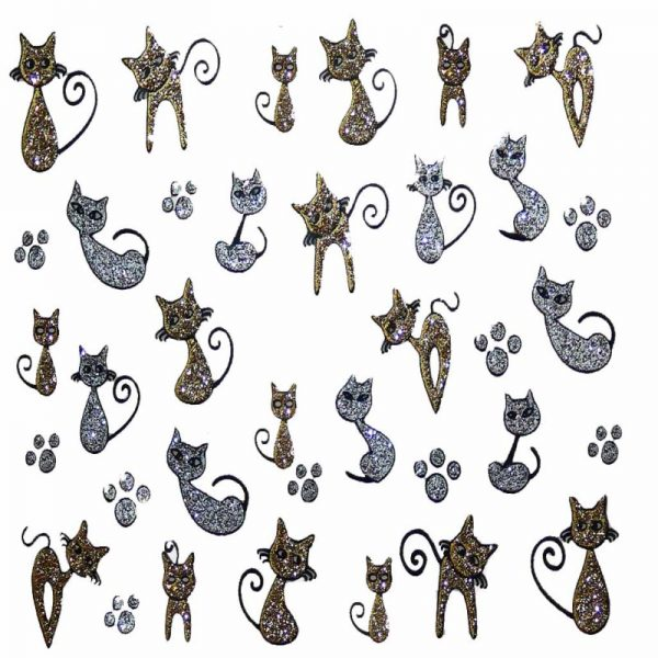 Design 6 Glitter Sticker cat and paw prints