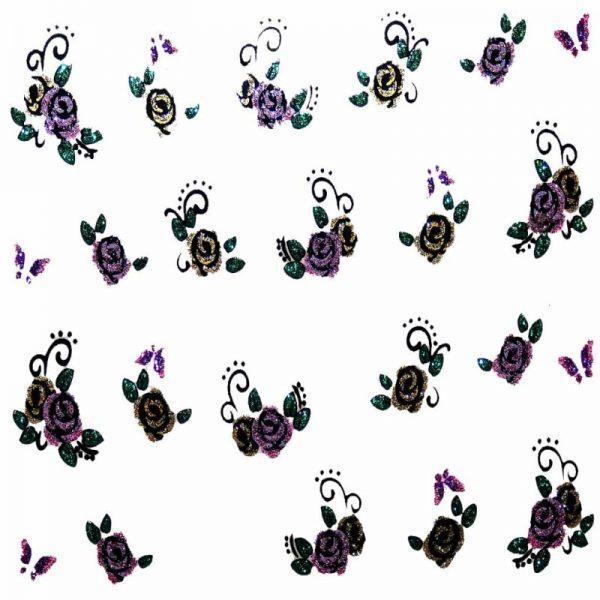 Design 7 Glitter Sticker Roses