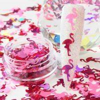 Flamingo Glitter Shapes