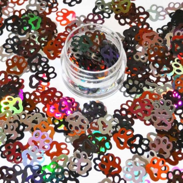 Paw Print Shapes Holographic Multicoloured