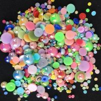 Multicoloured Half Pearls Mixed Sizes