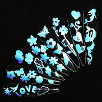 Butterfly clouds hearts mermaid flowers