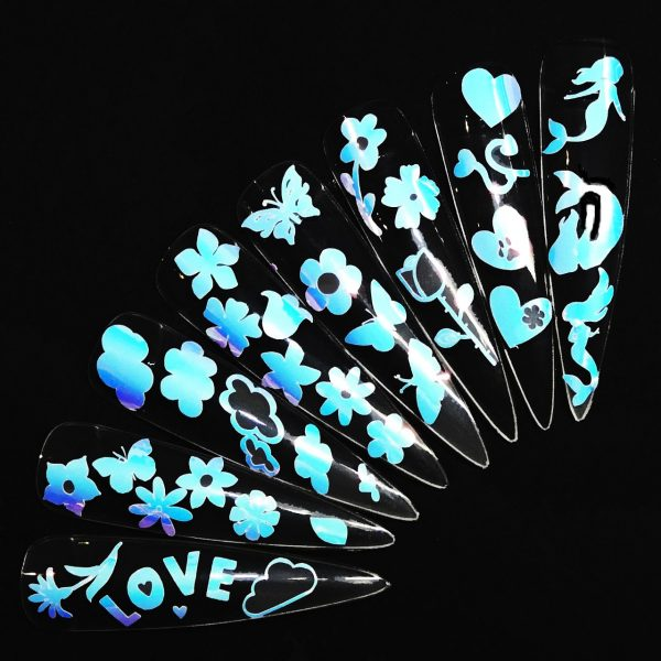 Butterfly clouds hearts mermaid flowers