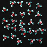 Christmas Holly & Berry Crystal Alloy 6 x 8mm