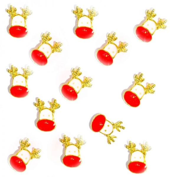 Christmas Rudolph Gold Alloy 8 x 5mm