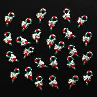Christmas Silver Candy Cane Alloy Crystal