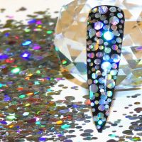 Silver Holographic Dot Mix 1mm 2mm 3mm