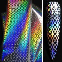 Silver Holographic Trellis Pattern Transfer Foil