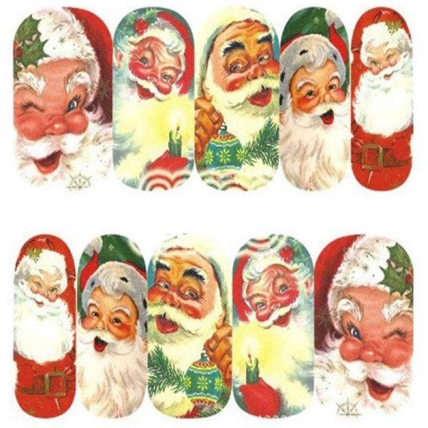 Christmas Santa Face water decal 1136