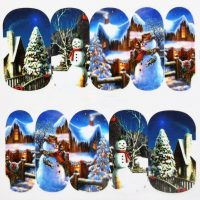 Christmas winter scene water decal 1138