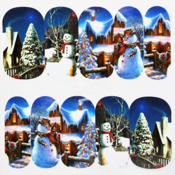 Christmas winter scene water decal 1138