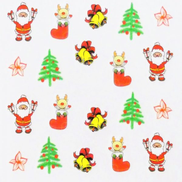 Santa Bell And Tree Water Decal 158