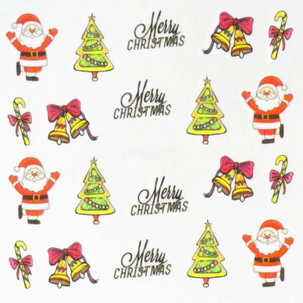 Bell Santa and Tree Water Decal 154