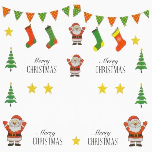 Santa Snowflakes And Stars Water Decal 160