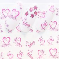Valentine Pink Hearts Water Decal Design 206