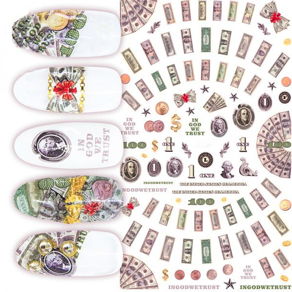 US Dollar Nail Art Stickers Colour 1