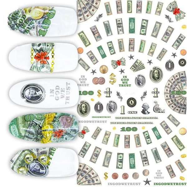 US Dollar Nail Art Stickers Colour 2