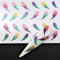 Glitter Pattern Sticker Feather Design 878