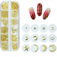 Metal Nail Studs Gold Set 3