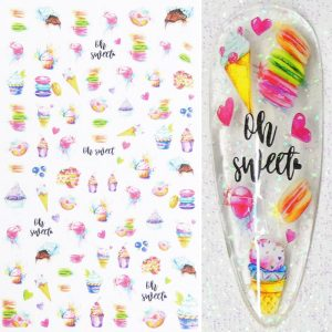 Sweets Cakes and Ice Cream Nail Stickers Design 47