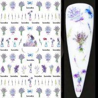 Flower Lavender Nail Stickers Design 453