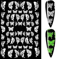 Butterfly Nail Art Stickers Glow In The Dark Design 60
