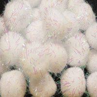 40 Iridescent White Pom Poms